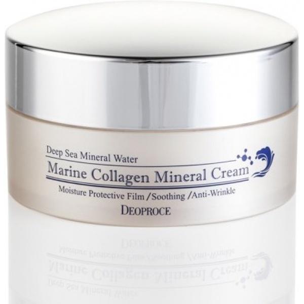 Deoproce Marine Collagen Mineral CreamПредставленный крем является идеальным для ухода за кожей девушек возраста от 25 лет. Он имеет весьма приятную текстуру, обладающую повышенной впитываемостью, что позволяет подарить лицу мгновенное ощущение комфорта. Отсутствие неприятной пленочки на лице после его использования делает этот продукт потрясающей базой для каждодневного макияжа. Содержание крема насыщено самыми полезными компонентами, в числе которых EGF, а также морской коллаген. EGF является эффективным антивозрастным ингредиентом новейшего поколения, который повышает рост новых клеточек эпидермиса, а также стирает присутствующие морщинки и предотвращает из дальнейшее образование. Морской коллаген увеличивает упругость и тонус кожи, делает ее более разглаженной, а также эластичной. Дополнительные ухаживающие компоненты обеспечивают необходимое увлажнение и питание эпидермиса на длительный период. Курс применения такого средства окажет самое положительное действие состояние кожи, имеющей начальные возрастные изменения, укрепит ее иммунитет и придаст здоровый и безупречно ухоженный вид. Сохраните вашу молодость и красоту на длительное время, используя этот крем от корейской марки Deoproce!<br><br>&amp;nbsp;<br><br>Объём: 100 мл<br><br>&amp;nbsp;<br><br>Способ применения:<br><br>Наносите продукт на кожу в необходимом количестве после вечерней и утренней процедур умывания лица.<br>