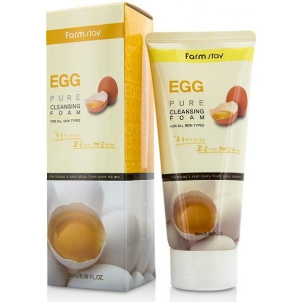FarmStay Egg Pure Cleansing FoamСуперочищающая пенка для склонной к жирности и закупорке пор (черным точкам) кожи, идеально очистит лицо от всех типов загрязнений. Яичный экстракт, входящий в состав пенки FarmStay Egg Pure Cleansing Foam, способствует стягиванию пор, подсушиванию воспалений и ускорению времени их заживления. Черные точки исчезают, частички омертвевших клеток отшелушиваются и кожа начинает дышать. Яичный желток глубоко питает стареющую кожу, сокращает морщины и осветляет пигменты.<br><br>Лецитин &amp;ndash; активный компонент желтка, является материалом, участвующим в строении и регенеративных процессах внутри клеток. Питает и разглаживает увядающую кожу.<br><br>Белок осветляет пигментацию, очищает поры, сужает их, делает кожные заломы не такими заметными.<br><br>&amp;nbsp;<br><br>Объём: 180 мл<br><br>&amp;nbsp;<br><br>Способ применения:<br><br>Выдавить пенку из тубы, вспенить в руках, на смоченную водой кожу нанести средство, массажируя лицо, тщательно умыться.<br>