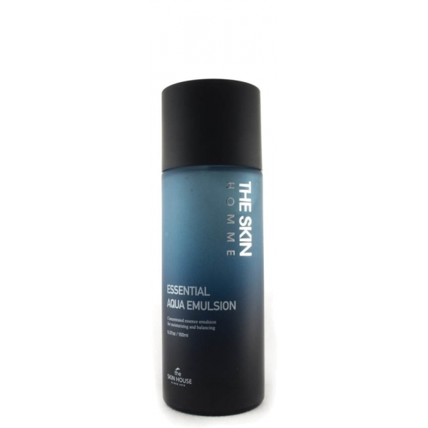 The Skin House Homme Essential Aqua EmulsionМногофункциональная эмульсия от корейской марки The Skin House создана специально для ухода за мужской кожей. Она работает одновременно со всеми проблемами:<br>увлажняет обезвоженную кожу;<br>устраняет дряблость;<br>нормализует работу желез внешней секреции;<br>сокращает расширенные поры;<br>отбеливает пигментацию;<br>разглаживает морщинки.<br><br><br>Консистенция эмульсии содержит микрогранулы. Они, соприкасаясь с кожей, растворяются и проникают вглубь, куда и доставляют необходимые питательные вещества. Замечательные результаты дает использование эмульсии после бритья. Она успокаивает раздраженную кожу и регенерирует ее.<br><br>Формула легкой эмульсии основана на свойствах ледниковой воды. Средство могут использовать обладатели чувствительной кожи. Оно не вызывает раздражений. Также богатый состав продукта содержит экстракты лотоса, ягод асаи, камелии, омелы, портулака, центеллы, женьшеня, граната. Это не весь перечень ценных компонентов, которые ухаживают за кожей, сохраняя ее здоровье и молодость.Объём: 150 млСпособ применения:Небольшое количество эмульсии нанесите на кожу мягкими похлопывающими движениями.<br>