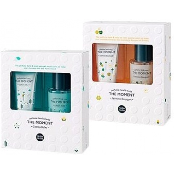 Набор: крем и мист для тела Holika Holika The Moment Perfume Hand &amp; Body Set MistПодарочный набор включает в себя два средства ежедневного ухода за кожей &amp;ndash; увлажняющий мист с нежным цветочным ароматом и парфюмированный крем для рук, защищающий их от ежедневных стрессов. В наличии два варианта комплектов:<br><br><br>Hand &amp;amp; Body Set Mist Cotton Bebe &amp;ndash; набор из крема и миста с ароматом хлопковых цветков;<br>Hand &amp;amp; Body Set Mist Jasmine Bouquet &amp;ndash; набор из крема и миста с жасминовыми цветами.<br><br><br>&amp;nbsp;<br><br>Объём: 80 мл; 30 мл<br><br>&amp;nbsp;<br><br>Способ применения:<br><br>Массирующими движениями вотрите парфюмированный крем в кожу кисте рук, уделяя особое внимание иссушенным участкам с огрубевающей кожей. Второй этап ухода &amp;ndash; нанесение парфюмированного миста на запястья, что препятствует впитыванию неприятных запахов и дарит приятный аромат на целый день. Крем можно наносить повторно, как только появляется ощущение сухости и стянутости кожи.<br>