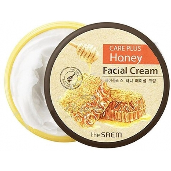 The Saem Care Plus Honey Facial CreamВ уходе за кожей лица по своей эффективности натуральный мед не знает себе равных. Именно этот продукт пчеловодства лежит в основе крема от корейского бренда The Saem. Средство обеспечит грамотный уход за любым типом кожи в домашних условиях.<br><br>Обезвоженная кожа в результате использования нектарного продукта получит невероятное ощущение комфорта и увлажненности. Нормальная кожа будет одарена питательными веществами, которые обеспечат ей гладкость и эластичность. Раздраженная и проблемная кожа избавится от повышенной чувствительности, а также будет очищена от воспалений.<br><br>Кроме меда крем в своем составе содержит гиалуронат, масла подсолнечника, оливы и макадамии. Эти компоненты восстанавливают и обновляют дермальный покров, наполняют каждую клеточку силой и сдерживают неизбежные процессы старения. Они максимально защищают кожу от зловредного действия свободных радикалов, безжалостных ультрафиолетовых лучей, заживляют небольшие ранки и предупреждают появление воспалений.<br><br>Азиатский крем доставит вашей коже невероятное удовольствие. Результат от его применения вы заметите сразу.<br><br>&amp;nbsp;<br><br>Объём: 200 мл<br><br>&amp;nbsp;<br><br>Способ применения:<br><br>Горошину крема нанесите на чистую кожу после тонера. Мягкими похлопывающими движениями двигайтесь по массажным линиям лица.<br>