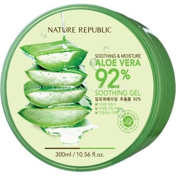 Nature Republic Soothing and Moisture Aloe Vera  Soothing GelМультифункциональный гель&amp;nbsp; Soothing &amp;amp; Moisture Aloe Vera 92% Soothing Gel, создан на основе экстракта алоэ, который составляет 92% из всего состава продукта. Универсальный по своему действию сок алоэ действует в разных направлениях: увлажняет, восстанавливает, питает, смягчает, успокаивает раздраженную кожу, стимулирует кровообращение, подтягивает и тонизирует. Помимо всего экстракт алоэ способен защитить кожу от фотостарения под УФ лучами, предотвращая преждевременное обвисание и иссушение кожи. Под действием компонента повышается иммунитет кожи, а значит, уменьшаются различного рода воспаления и неприятные ощущения. &amp;nbsp;<br>Состав продукта абсолютно безопасен, не содержит искусственных ингредиентов и и парабенов. Гель можно использовать для любого типа кожи.<br>Помимо сока алоэ, гель содержит:<br>&amp;bull; Глицерин &amp;ndash; его влагоудерживающие свойства позволяют коже оставаться увлажненной и подтянутой на протяжении длительного времени, ускоряет восстановление кожи. Создавая на лице невидимую тончайшую пленку, глицерин предотвращает образование шелушений на лице микротрещин, раздражений и покраснений, при этом, не нарушая поступления кислорода в клетки кожи.<br>&amp;bull; Бетаин &amp;ndash; натуральный ингредиент, действующая часть многих косметических продуктов для волос, лица и тела. Бетаин поддерживает электролитный баланс кожи, задерживает в ней нужное количество влаги, а также разглаживает и расслабляет ее.<br>&amp;bull; Гиалуронат натрия (гиалуроновая кислота) &amp;ndash; защищает, смягчает и увлажняет кожу, образовывая на ее поверхности тонкую воздухопроницаемую пленку, также выступает в роли транспортера полезных веществ в труднодоступные слои кожи, обеспечивая их более высокую эффективность.<br>Структура геля очень легкая, это позволяет средству легко распределяться на коже, быстро впитываться, и оказывать мгновенное действие. Средство не создает липкой пленки на пов