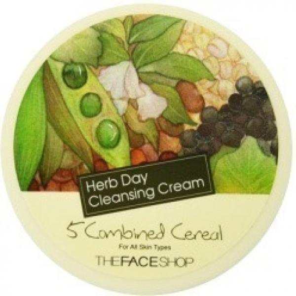 The Face Shop Herb Day  Cleansing CreamКорейская фирма The Face Shop предлагает вашему вниманию линию кремов для очищения кожи на основе растительных экстрактов! Каждый продукт обладает нежнейшей и густой текстурой, которая, при этом, великолепно очищает все виды загрязнений, оставляя за собой ощущение чистоты и комфорта на лице. Положительный эффект по улучшению состояния кожи обеспечивается благодаря уникальным формулам средств, насыщенным полезными компонентами. Представленная линия очищающих кремов включает в себя 4 различных продукта для решения ключевых несовершенств кожи. Так, продукт на основе зеленого чая обеспечивает мягкий отшелушивающий эффект, что делает его идеальным для жирной кожи. Средство на основе 5 злаков идеально для сухого типа, ведь оно увлажнит и смягчит его. Крем с включением алоэ является универсальным очищающим средством для эпидермиса каждого типа. Продукт на основе экстрактов фруктов окажет витаминизирующее и антиоксидантное действие на тусклую и обезвоженную кожу. Таким образом, в представленном разнообразии каждая с легкостью сможет выбрать для себя идеальный ухаживающий продукт. Станьте обладательницей безупречной кожи, используя эти очищающие кремы от корейского производителя!<br><br>&amp;nbsp;<br><br>Объём: 150 мл<br><br>&amp;nbsp;<br><br>Способ применения:<br><br>Наносите требуемое количество продукта на влажную кожу и распределяйте его нежными движениями по лицу до полного очищения. В конце процедуры необходимо смыть продукт с кожи.<br>