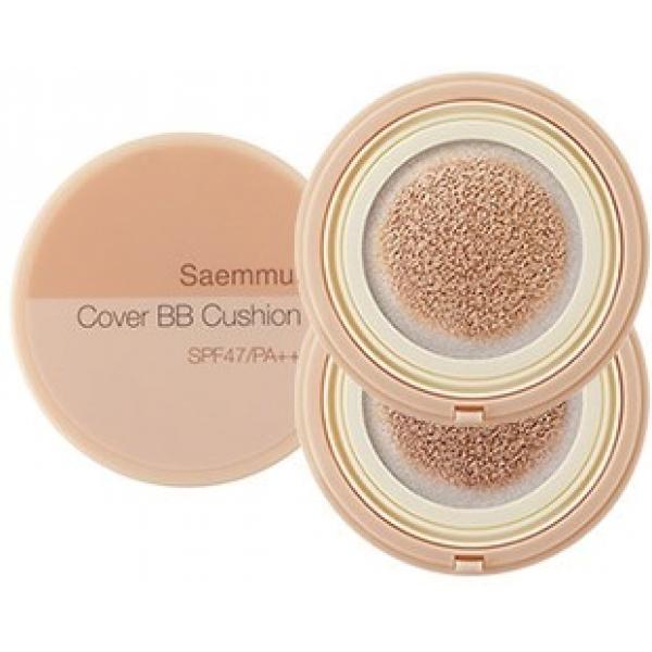 The Saem Saemmul Cover BB CushionЭто не просто ВВ кушон, это средство 4 в 1. Оно обеспечит вашей коже прекрасный внешний вид, увлажнение, отбеливание и защиту от солнца. Это Saemmul Cover BB Cushion – инновационный продукт от компании The Saem.<br><br>Форма этого тонального средства впечатляет. Это крем, заключенный в мягкую подушечку. Благодаря этому, наносить его на кожу будет не только легко, но и приятно. Вы получите ровное покрытие, а значит, и идеальный макияж.<br><br>В составе средства также уникальные увлажняющие микрочастички геля на натуральной основе. В нем экстракты персика и абрикоса, увлажняющие, омолаживающие и обеспечивающие защиту как антиоксиданты. Эти мельчайшие частички добираются докаждой эпидермальной клеточки, приносят ей влагу и здоровое сияние.<br><br>Ниацинамид подарит вашей коже свои осветляющие способности и выровняет ее тон при регулярном использовании ВВ-крема. А комплекс SPF47 PA ++ надежно защитит от солнечного негативного влияния.<br><br>Это новое решение в индустрии красоты, и оно, бесспорно, заслуживает вашего внимания.<br><br><br><br>Объём: 12 г<br><br><br><br>Способ применения:<br><br>Специальной подушечкой протрите кожу лица. Дождитесь впитывания крема и продолжайте макияж.<br>