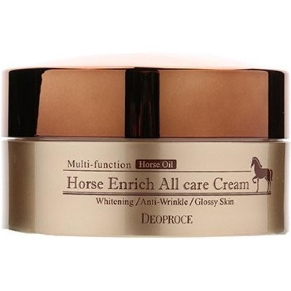 Deoproce Horse Enrich All Care CreamЭтот восстанавливающий крем представляет из себя великолепный продукт для ухода за увядающей, сухой, а также обезвоженной кожей. Он имеет густую и питательную текстуру, которая образует невидимую защитную пленочку на лице, даря мгновенное ощущение сказочного комфорта после нанесения. Интенсивное восстанавливающее действие продукта обеспечивается благодаря его составу, включающему самые полезные компоненты. Крем содержит в себе такие ингредиенты, как лошадиный жир, масла карите, кунжута, макадамии, а также ниацинамид. Лошадиный жир обеспечивает мощное восстанавливающее действие каждой клеточки кожи даже в самых глубочайших слоях. Растительные масла безупречно напитывают, смягчают, а также увлажняют эпидермис, кроме того, они способствуют улучшению его уровня эластичности, гладкости и упругости. Ниацинамид обновляет клеточный рельеф, возвращает лицу равный и здоровый оттенок, устраняет пигментацию и разглаживает морщинки. Курс использования средства поможет оптимизировать состояние чувствительной и возрастной кожи, заметно уменьшит проявленность ключевых признаков увядания и вернет коже сияющий и ухоженный вид. Порадуйте вашу кожу интенсивным восстанавливающим уходом, применяя данный крем от корейской марки Deoproce!Объём: 100 млСпособ применения:Средство рекомендуется наносить на сухое и чистое лицо в необходимом количестве утром, а также вечером.<br>