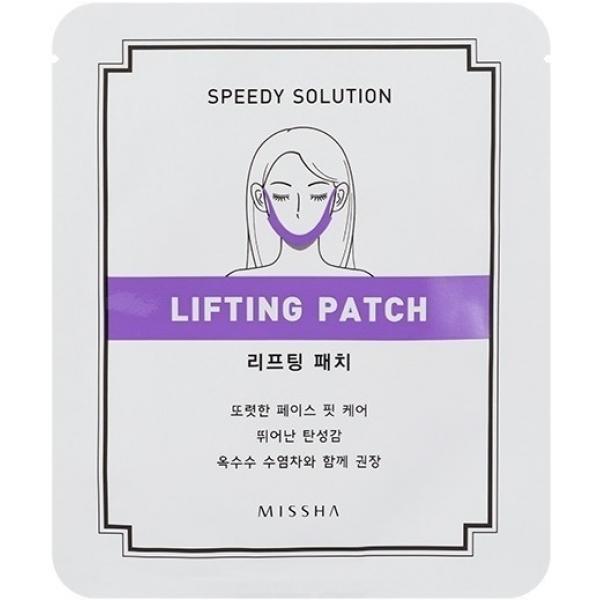 Missha Speedy Solution Lifting PatchГидрогелевый патч для моделирования контура лица Speedy Solution стимулирует выработку коллагена в коже, избавляет от припухлостей, дряблых участков, корректирует обвисшие щеки и двойной подбородок.<br><br>Это нестандартный для европейской косметики продукт &amp;ndash; более привычны одноразовые листовые маски с пропиткой из активных компонентов. Но лифтинг-патч предназначен именно для той области лица, которая плохо поддается коррекции &amp;ndash; контур его овала. А ведь именно дряблость и обвисшая кожа в зоне подбородка и щек выдают возраст сильнее всего.<br><br>В составе маски есть коллаген &amp;ndash; стимулирует укрепление естественного коллагенового каркаса дермальной матрицы и является природным увлажнителем кожи. Пептиды запускают процессы клеточной регенерации, гиалуроновая кислота сохраняет гидробаланс и защищает кожу от пересушивания. Гидрогель усиливает проникновение полезных компонентов и повышает их эффективность, дополнительно увлажняя дерму.<br><br>&amp;nbsp;<br><br>Объём: 1 шт.<br><br>&amp;nbsp;<br><br>Способ применения:<br><br>На чистую кожу наложить патч, предварительно освободив его от упаковки, закрепить на ушах через специальные прорези и оставить для воздействия на двадцать минут. Смывать средство не нужно, активная эссенция впитается в кожу и продолжит свое действие даже после того, как вы снимите патч.<br>
