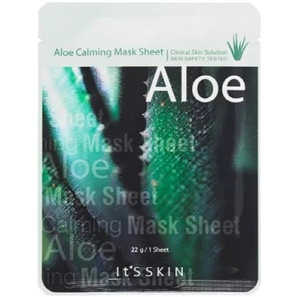 Its Skin Aloe Calming Mask SheetСтрессовое влияние на кожу могут оказывать многие факторы: избыток солнечных лучей, контакт с соленой или хлорной водой, сухой горячий воздух. Быстро и эффективно помочь коже после вредного воздействия окружающей среды поможет успокаивающая тканевая маска с алоэ It&amp;#39;s Skin Mask Sheet. Маска питает и увлажняет кожу, оказывает противовоспалительное и расслабляющее действие, улучшает тонус кожи, лечит поверхностные повреждения.<br><br>Основные компоненты Aloe Calming:<br><br>- сок алоэ &amp;ndash; биологически активное вещество, в составе которого более 100 полезных соединений. Это аминокислоты и минералы, которые восстанавливают кожу, увлажняют ее, снимают раздражения, борются с проблемами;<br><br>- огуречный сок &amp;ndash; отбеливает и увлажняет кожу, устраняет ощущение стянутости, уменьшает поры, препятствует накоплению в них кожного жира;<br><br>- портулак &amp;ndash; укрепляет коллагеновый слой, способствует сохранению упругости и эластичности кожи, убирает мелкие морщины, омолаживает.<br><br>Маска очень удобна в использовании &amp;ndash; тканевая основа обеспечивает плотное прилегание маски, и полезные вещества полностью переносятся на кожу лица.<br><br>&amp;nbsp;<br><br>Объём: 22 гр.<br><br>&amp;nbsp;<br><br>Способ применения:<br><br>Нанести маску на лицо, плотно распределить. Оставить на 20 минут, остатки маски не смывать, а вмассировать в кожу.<br>