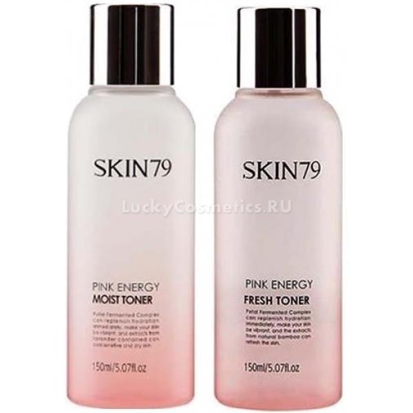 Skin Pink Energy TonerНатуральный тонер для лица от корейского бренда Skin79 предназначен специально для ухода за комбинированной, жирной и проблемной кожей. Energy Toner эффективно устраняет излишки кожного жира и лишний блеск, способствует интенсивному очищению, увлажнению и восстановлению кожи. Средство восполняет необходимый баланс влаги и применяется на подготовительном этапе ежедневного ухода перед нанесением крема.<br>В составе тонера Pink Energy содержатся только компоненты растительного происхождения, которые оказывают комплексное действие. Цветочный комплекс, включающий в себя розу, лилию, лотос, а также вишню, активирует регенерацию клеток и улучшает кровоснабжение тканей, дает омолаживающий эффект. Также средство содержит другие ингредиенты:<br>- воду бамбука, которая выравнивает тон кожи и глубоко увлажняет;<br>- витамины С и А;<br>- экстракт розы, устраняющий мелкие морщинки и питающий кожу.<br>Тонер представлен в двух вариантах: FRESH - освежающий и MOIST - увлажняющийОбъём: 180 мл.Способ применения:Нужное количество средства необходимо нанести на ватный диск, протерев им очищенную и сухую кожу лица. Тонер можно применять ежедневно, он помогает заметно преобразить и улучшить состояние кожи.<br>