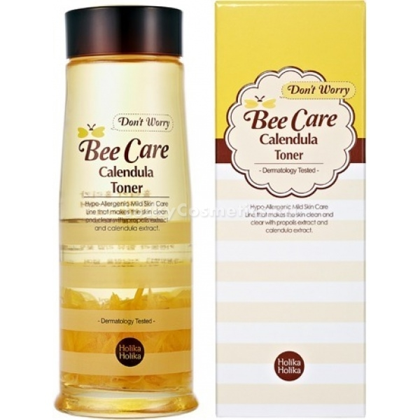 Тонер для проблемной кожи с прополисом Holika Holika Dont Worry Bee Care Calendula TonerТоник мягкого гипоаллергенного действия. В составе присутствуют экстракты алоэ вера, прополиса, цветки календулы, гиалуроновая и салициловая кислоты, аллантоин. Компоненты обладают полезными свойствами широкого спектра действия. Салициловая кислота и прополис оказывают противовоспалительное и противомикробное воздействие, календула и аллантоин снимают покраснения и ускоряют регенерацию кожи. Алоэ вера глубоко питает и увлажняет, гиалуроновая кислота сохраняет влагу в глубоких слоях кожи.<br><br>Благодаря нелипкой текстуре тоник заботится о проблемной коже не вызывая неприятных ощущений. Ускоряются обменные и регенерационные процессы, пропадает склонность к образованию прыщей. Кожа очищается, приобретает здоровый вид, гладкость и свежесть.<br><br>&amp;nbsp;<br><br>Объём: 140 мл<br><br>&amp;nbsp;<br><br>Способ применения:<br><br>После ежедневного очищения кожи протрите лицо тоником, используя ватную подушечку или диск. Не взбалтывайте пузырек!<br>