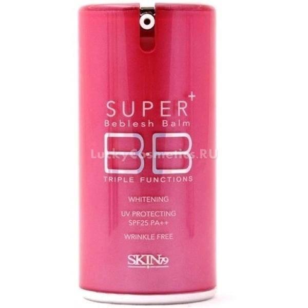 Skin  Hotpink Collection Super Plus BB Cream gSKIN79 Hot Pink Super Plus Beblesh Balm SPF25 - крем упакован розовый тюбик, призван оказывать антивозрастное действие, выравнивать цвет лица, придавать ему деликатное сияние. В составе крема присутствуют коэнзим Q10, алоэ вера, аденозин и арбутин. Средство обладает успокаивающим действием, создает легкое и невесомое покрытие на коже, способное скрыть купероз, пигментацию и покраснения. Крем также держит под контролем саловыделения, матирует кожу, и предотвращает возникновение воспалений. Оптимальный SPF25 предотвращает вредное воздействие на кожу ультрафиолетовых лучей.<br><br>&amp;nbsp;<br><br>Объём: 40 г.<br><br>&amp;nbsp;<br><br>Способ применения:<br><br>на чистую и подготовленную кожу нанести крем, и распределить равномерно по лицу и растушевать при помощи кисти, спонжа или кончиков пальцев. Смывать продукт следует исключительно гидрофильным маслом, или любым другим средством, предназначенным для удаления бб кремов.<br>