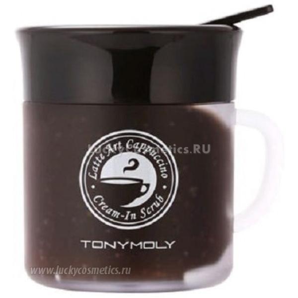 Скраб для лица Tony Moly Latte Art Cappucino Cream - In ScrubКорейская фирма-производитель косметики Tony Moly сочетает в своих продуктах уникальный дизайн и эффективное воздействие, превращая привычные процедуры по уходу за кожей в истинное удовольствие.<br><br>Крем-скраб от Tony Moly с запахом капучино упакован в емкость в виде кофейной чашечки и источает приятный кофейный аромат. К средству прилагается мерная ложечка для его распределения по лицу время применения. А эффект от утренней процедуры скрабирования кожи напоминает тонизирующее действие чашки крепкого кофе на организм.<br><br>Текстура скраба напоминает желе кофейного цвета с вкраплениями скрабирующих гранул. Этот скраб изготовлен с применением инновационной технологии смены цвета, которая позволяет вам с легкостью определить оптимальное время воздействия активных веществ на вашу кожу. Пока вы втираете вещество скраба в кожу, его активные ингредиенты взаимодействуют с токсинами в порах кожи. По мере их действия общий кожа нагревается, тон средства светлеет, а после этого становится абсолютно прозрачным &amp;ndash; это означает, что средство перестало работать и его пора смывать. Таким образом, вы экономите свое время и можете быть абсолютно уверены в эффективности очищения.<br><br>Действие скраба с кофейным экстрактом Latte Art Cappucino Cream<br><br><br>Эффективное удаление омертвевших клеток верхнего слоя кожи, естественное и не травмирующее<br>Натуральные экстракты кофе обеспечивают лимфодренажный эффект скраба, а также улучшают микроциркуляцию крови &amp;ndash; тонизирующее действие<br>Питание и увлажнение кожи обеспечено действием молочных протеинов.<br>Мелкие морщинки разглаживаются, а глубокие становятся менее заметными благодаря специальным пептидам в составе скраба, которые действуют подобно ботоксу. Поэтому Latte Art Cappucino Cream можно рекомендовать девушкам с активной мимикой, которые не нуждаются в сильнодействующих антивозрастных средствах<br>Кожа непосредственно после применения средства 
