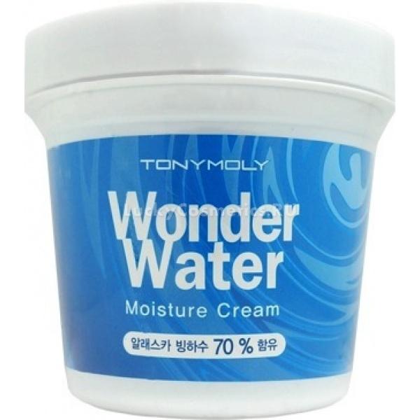Tony Moly Wonder Water Moisture CreamИнтенсивное увлажнение способно решить многие проблемы кожи и замедлить ее старение. Увлажняющий крем Wonder Water Moisture Cream от Tony Moly &amp;ndash; интенсивное увлажняющее средство на основе ледниковой воды, оптимально подходящей коже по минеральному составу.<br><br>Уход за кожей с использованием увлажняющего крема решает множество задач:<br><br><br>восстанавливает барьерные функции кожи после повреждений, пересушивания или последствий неправильного ухода;<br>сохраняют влагу и полезные вещества в глубоких ее слоях;<br>нормализует обменные процессы, усиливает кровообращение;<br>снабжает кожу витаминами и минералами, необходимыми для клеточного метаболизма.<br><br><br>Действующие вещества Wonder Water Moisture Cream<br><br><br>Экстракт мяты усиливает микроциркуляцию в капиллярах и возвращает тканям кожи тонус, оказывает болеутоляющий эффект и снимает раздражения и воспаления.<br>Экстракт гамамелиса &amp;ndash; антимикробная активность и вяжущее действие. Сосудосужающее действие этого растения помогает укрепить стенки кровеносных сосудов, питающих ткани кожи, в результате чего нормализуются многие физиологические процессы: уменьшается выделение себума, сужаются поры, усиливаются процессы регенерации.<br>Экстракт бамбука - облегчает эксфолиацию отмерших клеток, снабжает новую кожу полисахаридами, минералами и витаминами, аминокислотами, способствуя нормализации ее метаболизма и других физиологических процессов.<br>Трегалоза &amp;ndash; помогает поддерживать жизнедеятельность клеток в стрессовом состоянии под действием множества негативных факторов. Сохраняет клетки от повреждений и компенсирует недостаточное увлажнение, сохраняя их структуру. Трегалоза способна замедлять процессы старения кожи, поэтому часто используется в антиэйдж-средствах.<br><br><br>&amp;nbsp;<br><br>Объём: 300 мл<br><br>&amp;nbsp;<br><br>Способ применения:<br><br>Разогрейте небольшое количество средства в пальцах до температуры тела.<br><br>Нанесите крем 
