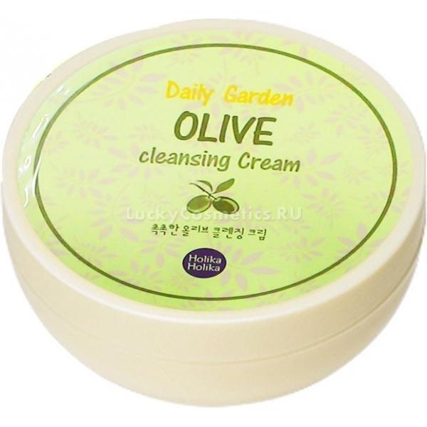 Holika Holika Daily Garden Olive Cleansing CreamЭтот очищающий крем с нежной текстурой бережно очищает кожу и удаляет макияж. Избавляет от стянутости после умывания и хорошо увлажняет. Компоненты, входящие в состав крема, растворяют стойкий макияж и полностью удаляют его с кожи. Подходит для нежной кожи глаз.<br><br>&amp;nbsp;<br><br>Объём: 160 мл<br><br>&amp;nbsp;<br><br>Способ применения:<br><br>Увлажните кожу, нанесите крем. Массируйте кожу до полного растворения макияжа. Остатки удалите салфеткой или умойтесь пенкой для лица.<br>