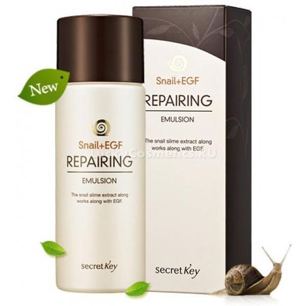 Secret Key Snail  EGF Repairing EmulsionВосстанавливающая эмульсия для любого типа кожи. Оказывает целебное воздействие на все слои эпидермиса, глубоко и интенсивно омолаживает кожу. Рекомендуется регулярное применение при наличии акне, угревой сыпи, шрамов, неровностей кожи, растяжек, морщин, выраженной пигментации, расширенных пор и микротравм. Уникальный полипептид EGF в ее составе стимулирует регенерацию клеток, что проявляется заметным сглаживанием рубцов, улучшением цвета лица и эластичности кожи. Секрет улитки восстанавливает, увлажняет и защищает ткани, богат витаминами, эластином, аминокислотами и коллагеном. Улиточная эмульсия придает коже матовость, замедляет старение и устраняет морщины. Масла жожоба, арганы, баттер ши, комплекс органических экстрактов, ферменты караганы, бета-глюканы, алое вера, пантенол в составе средства выполняют защитные и увлажняющие функции. Средство укрепляет верхний слой кожи, чем повышает защиту в холодное время года и имеет солнцезащитный фактор, что оберегает от пагубного воздействия ультрафиолетовых лучей в летние месяцы. Эмульсия с улиточной вытяжкой Secret Key Snail &amp;ndash; первый шаг в серии, она способствует более глубокому проникновению восстанавливающих веществ крема из этой же серии в кожу.<br><br>Объем: 150 мл<br><br>Способ применения: На очищенную кожу нанести небольшое количество эмульсии и дать впитаться. Легкая структура позволяет использовать эмульсию в любое время года. Служит базой под макияж.<br>
