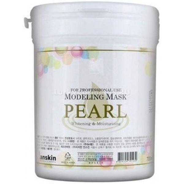 Anskin Pearl Modeling Mask  containerИспользуется для осветления и выравнивания тона чувствительной кожи. Гидролизированный экстракт жемчуга в составе этой альгинатной маски успокаивает кожу и выводит лишнюю пигментацию &amp;ndash; пятнышки с каждым новым применением становятся все менее заметными. Если на коже есть покраснения или прыщики, то Pearl Modeling Mask от Anskin мгновенно подсушит их.<br><br>Гиалуроновая кислота в составе маски делает ее применение особенно приятным для сухой и тусклой кожи &amp;ndash; после снятия маски она обретает тургор и становится гладкой, сияющей, упругой. Экстракт глицинии питает клетки и обеспечивает их материалом для роста и деления.<br><br>Объём контейнера:&amp;nbsp;700 мл<br><br>Масса сухого вещества:&amp;nbsp;240 грамм<br><br>&amp;nbsp;<br><br>Способ применения:<br><br>Отмерьте необходимое количество порошка альгинатной маски и разведите ее водой. Нанесите по массажным линиям на лицо и ожидайте, пока маска застынет (пластифицируется), после чего снимите и наслаждайтесь результатом. Рекомендуется перед нанесением маски очистить лицо по азиатской системе умывания и нанести высококонцентрированную сыворотку &amp;ndash; так ее ингредиенты впитаются быстрее и эффект от применения средства будет более выраженным.&amp;nbsp;<br><br>Если проделывать курс нанесения масок каждые&amp;nbsp;2-3 дня, то для сохранения эффекта в дальнейшем будет достаточно 1-2 раза в неделю.&amp;nbsp;<br>