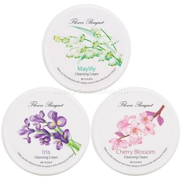 Missha FlowerBouquetCleansing reamОчищающий крем для лица серии Flower Bouquet мягко очищает кожные покровы от пыли и грязи, тонизирует их и делает упругими. Цветочная серия кремов &amp;ndash; невероятные ароматы, каждый из которых можно сравнить с букетом цветов. В серию входит:<br><br>1. Cherry Blossom Cleansing Cream. В составе этого средства присутствует экстракт цвета вишни. Он оказывает успокаивающее действие на кожу, выводит все токсины и предотвращает образование воспалений;<br><br>2. Iris Cleansing Сream. Для изготовления этого крема использовался экстракт ириса. Эти цветы обладают сильным противовоспалительным эффектом, который удалось сохранить. При постоянном использовании кожа становится насыщенной и упругой, на ней отсутствуют сыпь и покраснения;<br><br>3. Maylily Cleansing Cream. В состав крема входит экстракт ландышей. Он возвращает коже приятный цвет, делает её здоровой на вид.<br><br>Косметика на основе цветов позволяет справиться со многими проблемами кожи и подходит для любого типа кожи.<br><br>&amp;nbsp;<br><br>Объём: 182 мл.<br><br>&amp;nbsp;<br><br>Способ применения:<br><br>Нанесите небольшое количество крема на лицо похлопывающими движениями, распределите по лицу, помассируйте, смойте средство водой.<br>