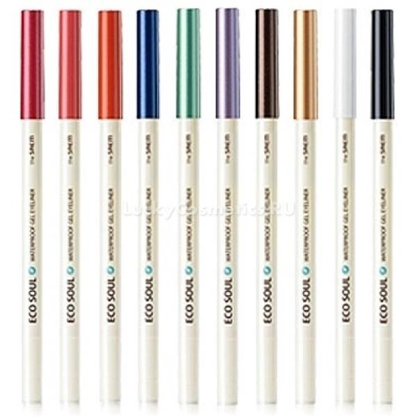 The Saem Eco Soul Waterproof Gel eyelinerГелевая подводка в форме карандаша с точилкой в комплекте &amp;ndash; отличный инструмент для создания эффектного макияжа глаз. Доступно огромное разнообразие оттенков:<br><br>01 Deep sea pearl black &amp;ndash; перламутровый черный для создания макияжа смоки айс.<br><br>02 Hot tanning brown &amp;ndash; темно-коричневый для создания стрелок, идеально подойдет блондинкам, поскольку повторяет оттенок ресниц и бровей.<br><br>03 Love love hunting red &amp;ndash; эффектный красный не всегда уместен в повседневном макияже, но на вечеринке произведет фурор.<br><br>04 Coral pink &amp;ndash; коралловый розовый дарит образу весеннюю свежесть, подчеркивает румянец.<br><br>05 Sentimental orange &amp;ndash; нежно-оранжевый используют для дымчатого макияжа в теплых тонах.<br><br>06 Golden sand yellow &amp;ndash; золотистый песочный оттенок для макияжа в романтичном стиле.<br><br>07 Green sea mint &amp;ndash; ментоловый зеленый идеально подходит кареглазым девушкам, придавая их взгляду особой выразительности.<br><br>08 Dreaming purple &amp;ndash; фиолетовый оттенок подойдет в качестве цветового акцента дымчатого макияжа.<br><br>09 Cool darzzling blue &amp;ndash; холодный синий придаст серым глазам загадочности и глубины.<br><br>10 Shiny Spray white &amp;ndash; сияющий белый используется для визуальной коррекции формы глаз.<br><br>&amp;nbsp;<br><br>Объём: 0,5 г<br><br>&amp;nbsp;<br><br>Способ применения:<br><br>Есть два основных способа применения, которые можно комбинировать между собой: прорисовка стрелки по линии роста ресниц и создание насыщенного цветового акцента как завершающий штрих макияжа. Обычно второй способ применяют при макияже тенями &amp;ndash; карандаш растушевывают в верхнем внешнем углу века или же проводят линию по направлению к основанию век.<br><br>Каждый визажист использует свою технику нанесения, а богатство оттенков карандаша позволит вам экспериментировать и создать свой уникальный стиль.<br>