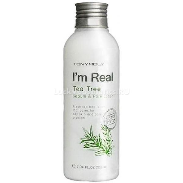 Tony Moly  Im Real Tea Tree SebumЛосьон станет отличным решением как для жирной кожи, так и для нормальной. Мягкая текстура лосьона не оставит жирных следов на коже, подарит свежесть и чистоту.<br>Данное средство оздоравливает эпидермис, дарит чувство чистоты. Этому способствует экстракт столь полезного зеленого чая, который является природным антиоксидантом.<br>Лосьон для проблемной кожи с расширенными порами Tony Moly  Im Real Tea Tree Sebum &amp; Pore Lotion является одной из ступеней каждодневного ухода.<br>Продукт состоит только из натуральных компонентов, которые обновляют кожу, дарят ей здоровье изнутри, делая ее сияющей, шелковистой и мягкой.Объём: 200 млСпособ применения:Лосьон прост в использовании. Массажными движениями необходимо нанести средство на все участки кожи лица до полного впитывания.<br>
