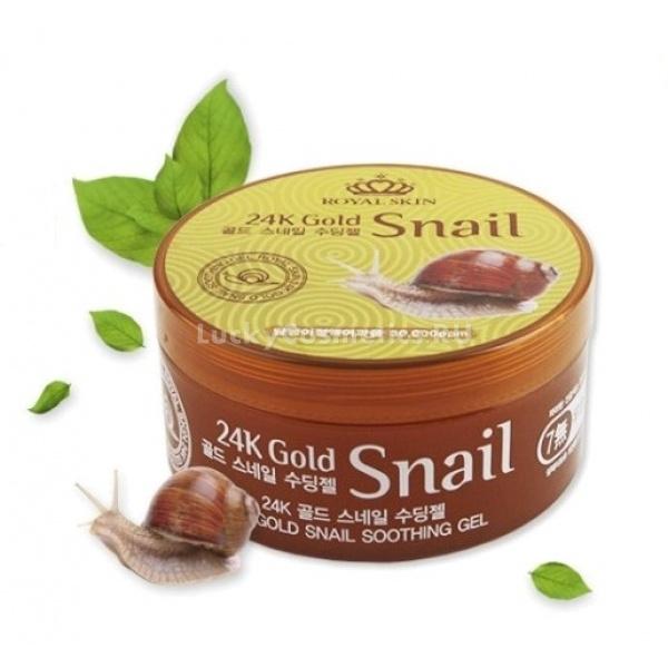 Royal Skin K Gold Snail Soothing GelУниверсальный гель 24K Gold Snail Soothing Gel с улиточным секретом создан для дополнительного ухода за лицом и телом. В состав его входит все необходимое для поддержания кожи в первозданном виде, он дарит ей здоровье и молодость. Средство имеет гелевую, водянистую консистенцию, за счет чего моментально впитывается глубоко внутрь кожи, не оставляя следа. При постоянном использовании продукта кожа становится более нежной.<br><br>Активным составляющим средства является муцин &amp;ndash; фильтрат улитки. Он оказывает интенсивное влияние на клетки кожи, запускает обменные процессы и восстанавливает ее. Крем разравнивает дерму, делает ее более молодой и упругой. Кроме того, крем с улиточным секретом активно борется с недостатками кожи, такими как &amp;ndash; черные точки, веснушки, прыщики, пигментные пятна и морщинки.<br><br>Помимо этого немаловажного компонента, в состав косметического продукта входит:<br><br>&amp;uuml; коллаген &amp;ndash; увлажняет кожу и тонизирует ее, способствует обновлению эпидермиса;<br><br>&amp;uuml; биоактивное золото 24К &amp;ndash; усиливает кровообращение, насыщает кожу кислородом и замедляет процессы ее увядания;<br><br>&amp;uuml; витамины и аминокислоты &amp;ndash; оздоравливают и тонизируют кожу;<br><br>&amp;uuml; гликолевая кислота &amp;ndash; очищает кожу от токсинов и шлаков.<br><br>Данный крем отлично подойдет для ухода за дряблой и зрелой кожей, он вернет коже былую гладкость и здоровое сияние.<br><br>&amp;nbsp;<br><br>Объём: 300 мл<br><br>&amp;nbsp;<br><br>Способ применения:<br><br>Крем нанесите на чистую кожу, распределите.<br>