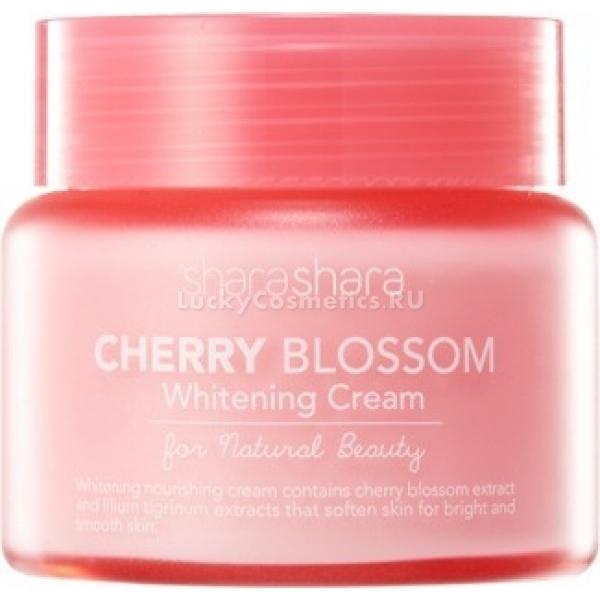 Shara Shara Cherry Blossom Brightening CreamКрем Cherry Blossom Brightening Cream от бренда Shara Shara предназначен для эффективного выравнивания и осветления кожи. Он помогает отбелить кожу, убрать нежелательную пигментацию и рубчики постакне.<br>Крем содержит множество природных компонентов, они разглаживают кожу, смягчаю ее, возвращают здоровый блеск. Экстракты ириса, сакуры и жасмина насыщают кожу микроэлементами и аминокислотами, глубоко увлажняют и питают ее.<br>Вытяжка папайи и молочная кислота выступают в роли мягкого пилинга, они способствуют отшелушиванию ороговевших клеток кожи, очищают эпидермис и запускают важные обменные процессы.<br>Крем защищает дерму от вредного внешнего воздействия и продлевает молодость кожи. При постоянном использовании средства, кожа становится более эластично и светлой.Объём: 55 млСпособ применения:Очистите кожу, нанесите на нее несколько капель крема, распределите. Средство может быть использовано как база под макияж.<br>