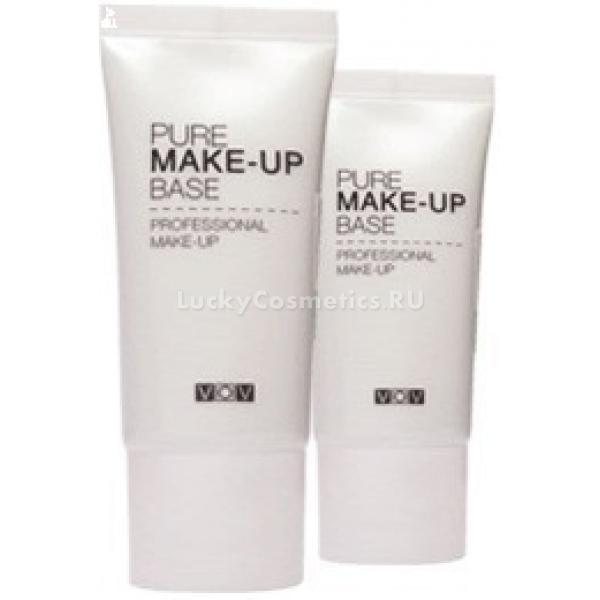 VOV Pure Make Up BaseОснова под макияж разработана косметологами корейского бренда VOV для кожи лица с несовершенствами. С ее помощью добиться безупречного цвета и рельефа очень просто. База станет незаменимым помощником для маскировки покраснений, пигментации, постакне и сосудистой сетки. Лицо после нанесения средства приобретает свежий, отдохнувший внешний вид. Также этот продукт легко решает проблему желтизны кожи, придавая ей бронзовый окрас.<br><br>База имеет жидкую консистенцию. Она Суперлегко наносится и распределяется по коже, молниеносно впитывается. Чтобы приступить к дальнейшему нанесению тонального средства и пудры, понадобится всего несколько минут. Продукт не создает на лице ощущения маски. Однако при этом он питает кожу влагой и полезными микроэлементами, защищает ее от действия ультрафиолета и обезвоживания, скрывает шелушения.<br><br>Основа некомедогенна, она не блокирует дыхание дермы. После ее использования поры остаются чистыми. Средство оставляет на коже приятный аромат. Значительно повышает стойкость нанесенных поверх него тональных продуктов.Объём: 35 млСпособ применения:Наносить базу можно с помощью кисточки или подушечками пальцев. Распределить средство по чистой сухой коже лица и дать впитаться.<br>