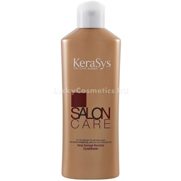 KeraSys Salon Care Deep Damage Recovery ConditionerКондиционер для восстановления волос от азиатского бренда KeraSys &amp;ndash; это качественный уход за шевелюрой в домашних условиях. Богатая формула продукта содержит комплекс питательных компонентов, которые довольно быстро возвращают здоровое сияние волосам, поврежденным в результате химического или теплового воздействия. Регулярное использование кондиционера подарит вашим локонам шелковую струящуюся гладкость и ослепительный блеск.<br><br>Главными активными компонентами косметического средства являются:<br><br><br>кератин;<br>термальная вода;<br>полифенольные соединения красных сортов вин.<br><br><br>Природный кератин в составе продукта оздоравливает волосы изнутри. Вещество восстанавливает повреждения, предупреждает появление секущих кончиков и уменьшает ломкость. Термальная вода покрывает каждую волосинку защитной пленкой, что препятствует новым повреждениям. Она эффективно борется с сухостью и пушистостью волос, обеспечивает защиту от агрессивного влияния ультрафиолета. Полифенолы, содержащиеся в красном вине, придают волосам силу.<br><br>Текстура ополаскивателя довольно густая, но прекрасно распределяется по волосам и поглощается ими. Средство быстро впитывается и легко смывается водой. После смывания локоны великолепно расчесываются, становятся более гладкими и прямыми.<br><br>&amp;nbsp;<br><br>Объём: 180 мл<br><br>&amp;nbsp;<br><br>Способ применения:<br><br>На чистые влажные волосы расчесывающими движениями нанести кондиционера. Через несколько минут, когда средство полностью впитается, смыть водой.<br>