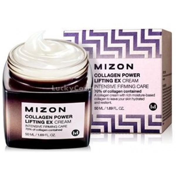 Mizon Collagen Power Lifting Ex CreamЭтот крем &amp;ndash; высокоэффективное ухаживающее средство для кожи, на которой уже присутствуют первые признаки увядания! Он обладает невесомой текстурой, которая супербыстро впитывается, исключая появление липкости и жирности. Комплексный положительный эффект от применения продукта обеспечивается благодаря его составу, включающему инновационные компоненты. Основные компоненты состава крема &amp;ndash; коллаген морской и гиалуроновая кислота. Коллаген морской повышает уровень эластичности и тонуса кожи, восстанавливая контуры лица. Гиалуроновая кислота высокоэффективно увлажняет эпидермис, разглаживая мелкие морщинки и предупреждая их дальнейшее появление. Наличие в формуле крема ниацинамида, аденозина и бета-глюкана оказывает всестороннее разглаживающее, обновляющее и антиоксидантное действие, в результате чего исчезают пигментация, морщинки, а также повышается собственный иммунитет кожи к негативному влиянию условий окружающей среды. Каждодневное применение продукта поможет устранить все ключевые признаки процессов увядания кожи, а также сохранить ее молодой и здоровый вид. Придайте вашему лицу сияющий и ухоженный вид, используя этот крем от Mizon!<br><br>&amp;nbsp;<br><br>Объём: 50 мл<br><br>&amp;nbsp;<br><br>Способ применения:<br><br>Средство следует наносить на сухую кожу лица после вечернего и утреннего очищения.<br>