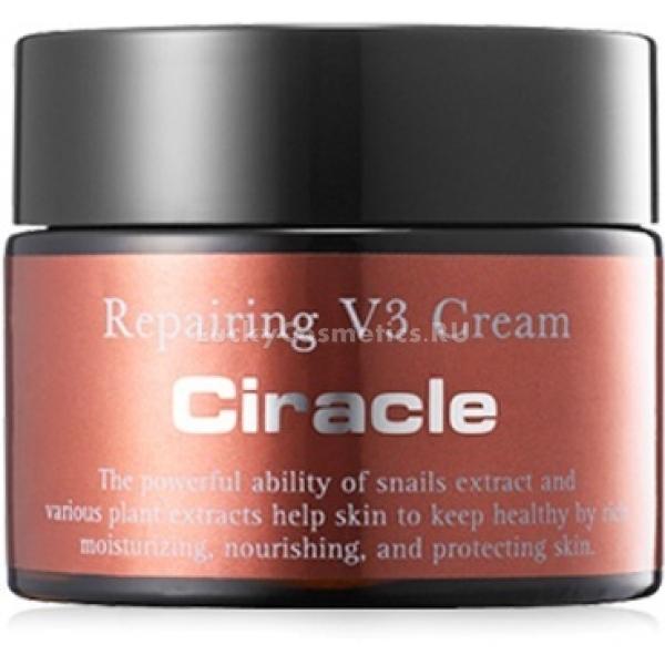 Ciracle Repairing V CreamКрем для лица от корейского бренда Ciracle &amp;ndash; это профессиональное средство для экстренного восстановления кожи. Средство рекомендовано к применению обладателям обезвоженной, гиперчувствительной кожи, а также кожи, подверженной постоянным стрессам.<br><br>Восстанавливающее красоту кожи средство обладает сливочной текстурой. Она при соприкосновении с дермой ведет себя очень мягко, глубоко питая, успокаивая кожу и подтягивая контур лица.<br><br>Важнейший активный компонент формулы средства &amp;ndash; экстракт улиточной слизи. Муцин содержит богатый комплекс веществ, в том числе гликолиевую и гиалуроновую кислоты, витамины, минералы, белки, эластин. Он оздоравливает кожу на клеточном уровне, способствует производству собственного эластина и коллагена, тормозит процессы старения, отбеливает пигментные пятна и разглаживает морщинки. Также улиточная слизь решает проблему постакне и защищает кожу от ультрафиолета.<br><br>Также крем богат натуральными экстрактами и маслами, пчелиным воском, керамидами, скваленом, витамином E. Регулярное использования продукта быстро восстановит красоту и здоровье вашей кожи.<br><br>&amp;nbsp;<br><br>Объём: 50 мл<br><br>&amp;nbsp;<br><br>Способ применения:<br><br>Нанесите крем на чистую кожу после тоника. Слегка вотрите и дайте впитаться.<br>
