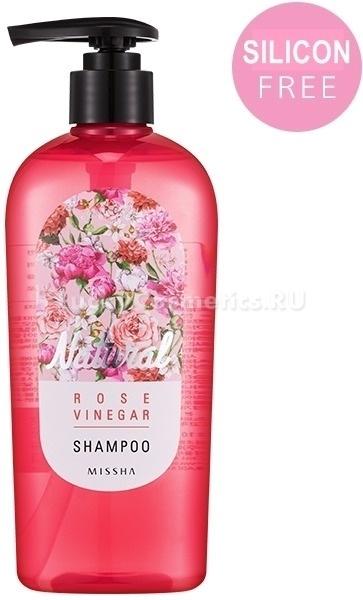 Missha Natural Rose Vinegar ShampooШампунь с розовым экстрактом  Rose Vinegar от азиатской фирмы Missha создан специально для увлажнения и ускорения роста волос. Также очищающее средство надежно защищает локоны от плачевных последствий частой горячей укладки и восстанавливает после окрашиваний.<br><br>Состав шампуня содержит массу полезных компонентов:<br>экстракт розы увлажняет и восстанавливает локоны;<br>уксус улучшает структуру, возвращает блеск;<br>масла камелии и арганы укрепляют луковицы и питают всю длину волос.<br><br>Ферменты и кислоты, содержащиеся в ингредиентах, восстанавливают защитный слой каждой волосинки. Они улучшают общее состояние кожи головы, усиливают циркуляцию крови и приводят в норму кислотно-щелочной баланс. Эта витаминная артиллерия превратит в шелковистое полотно даже жесткие, «соломенные» волосы.<br><br>Розовый шампунь Natural не содержит силиконов, которые дают лишь визуальный эффект. Она помогает решить такие проблемы, как выпадение волос, шелушение кожи головы и зуд. С этим средством вы гарантированно получите мягкий и эффективный уход за своими прядями.Объём: 310 млСпособ применения:Порцию шампуня распределите по влажным волосам. Массируйте от корней до кончиков несколько минут. Промойте волосы и кожу головы под проточной водой.<br>