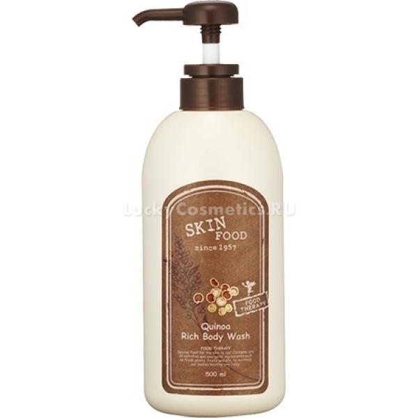 SkinFood Quinoa Rich Body WashГель для душа с экстрактом киноа Rich Body нежно и бережно очищает кожу, дарит ей заряд бодрости на целый день. Средство имеет густую на половину прозрачную консистенцию и приятный травянистый запах. Не стягивает и не пересушивает кожу.<br>В составе Quinoa Wash содержит экстракт злака киноа, что известен своими полезными свойствами и наличием многих элементов, жизненно необходимых для человеческого организма, таких как минералы, витамины А, В, С, Е (именно эта витаминная группа эффективно борется с процессами старения кожи, защищает ее от ультрафиолетовых лучей, является естественными антиоксидантами), белки, крахмал, фосфор, клетчатка. Впервые это растение начали употреблять в пищу, еще в древности, племена Майя, называя растение «Золотым зерном». Сейчас семена широко используются во многих странах не только для приготовления пищи, но и в косметологических целях. На сегодняшний день это растение считается одним из самых полезных в мире. Экстракт отлично увлажняет кожу, предотвращая дальнейшее ее стягивание и сухость. Кроме киноа, гель для душа содержит небольшое количество ментола, который приятно освежает кожу. Хорошо пенится, экономичен в использовании.Объём: 500 мл.Способ применения:Рекомендуется наносить данное средство на влажную кожу, легкими массажными движениями, после чего смыть. После использования, кожа на протяжении всего дня будет сохранять заряд бодрости и свежести. Подходит для ежедневного использования.<br>