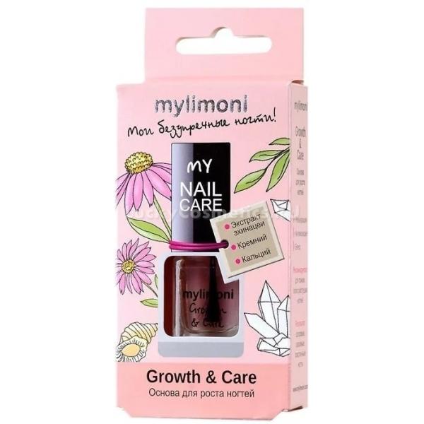 MyLimoni Growth  CareБазовое покрытие или основа под лак необходима каждой девушке, носящей маникюр, для того, чтобы покрытие радовало как можно более длительное время свою обладательницу, не скалываясь и не расслаиваясь. Базовое покрытие из линии косметических средств MyLimoni способствует выравниванию ногтевой пластины, устраняя трещинки и неровности ногтя, готовя ее к последующему нанесению декоративного покрытия. Оно также прекрасно заботится о здоровье ногтя, укрепляя и придавая ему упругость и эластичность.<br>Благодаря уникальному составу на основе вытяжки эхинацеи, база для ногтей Growth &amp; Care улучшает иммунные свойства ногтя, а также стимулирует ускоренный рост ногтей и процессы клеточного обновления.<br>Входящий в состав продукта кальций эффективно укрепляет ногтевую пластину, придавая прочность ослабленным и тонким ногтям.Объём: 6 мл.Способ применения:Наносить средство перед нанесением декоративного покрытия в один слой. Можно использовать средство самостоятельно в качестве активатора роста ногтей дважды в неделю.<br>