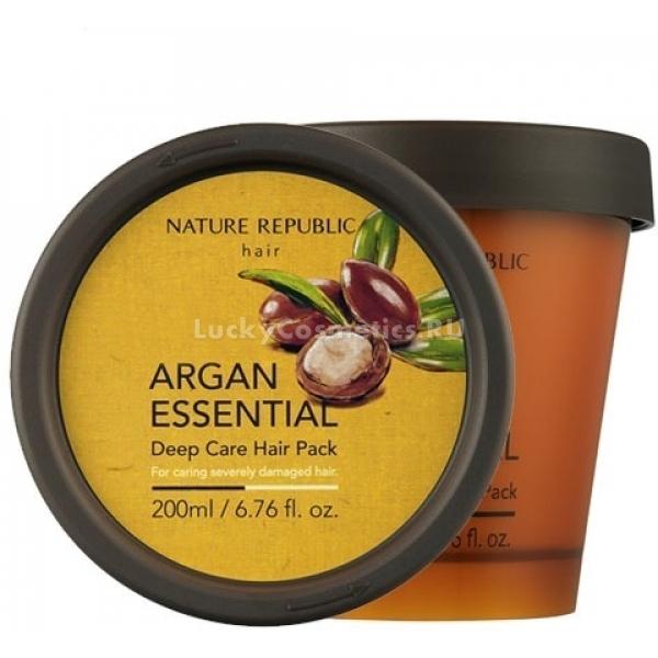 Nature Republic Argan Essential Deep Care Hair PackПитательная маска для волос Care Hair Pack от известного корейского производителя позволяет вернуть волосам прежнюю шелковистость и объем. Она эффективно защищает волосы от повреждений и негативного воздействия ультрафиолетовых лучей.<br><br>Основным действующим веществом является натуральное масло арганы которое эффективно восстанавливает волосы, наполняет их жизненной энергией, тонусом и силой. Ваши волосы еще никогда не были такими сильными, крепкими и здоровыми.<br><br>Маска подойдет для всех типов волос, однако особенно полезна она будет для тонких волос. Также действие средства направлено на эффективно питание кожи головы, это стимулирует рост волос и помогает ликвидировать такую проблему, как перхоть. Питание осуществляется прямо от корней волос, что позволяет достичь превосходного результата в минимальные сроки.<br><br>&amp;nbsp;<br><br>Объём: 200 мл.<br><br>&amp;nbsp;<br><br>Способ применения:<br><br>Нанесите небольшое количество маски на чистые влажные волосы. Массажными движениями распределите маску по длине волос. Подождите 10-15 минут, а затем смойте маску теплой водой. Средство необходимо использовать несколько раз в неделю, через 2-3 дня.<br>
