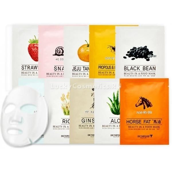 Skinfood Beauty In A Food Mask SheetТканевые маски уверенно вошли в мир уходовой косметики и полюбились представительницам прекрасного пола благодаря простоте использования, удобству и эффективности. У южнокорейского производителя Skinfood представлено многообразие вариантов, но одной из любимой и самой востребованной является линейка Beauty In A Food Sheet, в которую входит множество «вкусов».<br>Propolis And Bee Venom с прополисом и пчелиным ядом, а также Centella Asiatica с экстрактом азиатского растения станут спасением для возрастной кожи, так как способствуют выработке коллагена и эластина, отлично сглаживают «гусиные лапки» и помогают бороться с пигментацией.<br>Для борьбы с чувством стянутости, шелушениями и дряблостью отлично подойдут Bird`s Nest с загадочным экстрактом ласточкиного гнезда, Mask Sheet Horse Fat с конским жиром, а также Mask Sheet Caviar на основе черной икры, которые являются богатейшими источниками минералов и антиоксидантов.<br>Тканевая маска Brussels Sprout с брюссельской капустой благотворно влияет на жирный и комбинированный тип кожи за счет витаминов В, С, А, сужает поры и придает лицу здоровую матовость. Похожа на нее по действию Mask Sheet Kale с экстрактом даров моря.<br>Mask Sheet Watermelon и Mask Sheet Coconut не только подарят фруктовый заряд бодрости во время процедуры, но и обеспечат глубокое увлажнение, насытят эпидермис полезными микроэлементами, а также слегка осветлят пигментацию и пятна постакне за счет мягкого воздействия фруктовых кислот.<br>Быстро заживить повреждения и успокоить покраснения на чувствительной коже смогут Mask Sheet Red Beet с соком красной свеклы и Mask Sheet Tomato с экстрактом спелого помидора. После процедуры личико стает мягким, бархатистым и свежим за счет быстрого целебного воздействия помощников с грядки.Объём: 18 мл.Способ применения:Тщательно умыться привычным средством, подсушить кожу полотенцем и аккуратно нанести на лицо ткань маски, пропитанную активной сывороткой, выдержать 20-25 минут. 