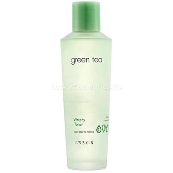 Its Skin Green Tea Watery TonerУльтрапитательная линейка ухаживающих средств на основе зеленого чая помогает очистить поры и успокоить раздраженную кожу. Средство прекрасно питает сухую и уставшую клжу. Деликатно раскрывает и очищает поры. Благодаря легкой текстуре продукт обеспечивает максимально комфортные ощущения после процедуры умывания. Не оставляет следов жирности или липкости, предотвращает появление сухости. Натуральные растительные компоненты средства обладают терапевтическим эффектом, поддерживают оптимальный уровень влаги в клетках и дарят коже матовость в течение всего дня.<br>Экстракт огурца великолепно насыщает клетки влагой, усиливает тургор и эластичность кожи, устраняет отечность и воспаления.<br>Экстракт бамбука нормализует работу сальных желез, укрепляет стенки сосудов, предотвращает образование пигментации и рельефности, успокаивает кожу.<br>Масло примулы вечерней помогает замедлить старение клеток, предотвращает образование дряблости и обвисания кожи, защищает клетки от негативного влияния ультрафиолета, стрессов и температурных колебаний.Объём: 150 мл.Способ применения:Смочите ватный диск средством и протрите кожу после процедуры умывания.<br>