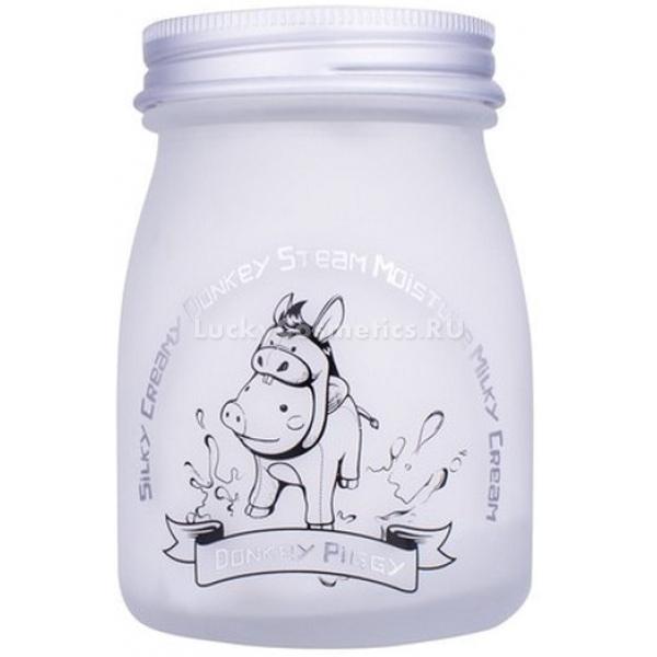 Elizavecca Silky Creamy Donkey Steam Moisture Milky CreamПитание и увлажнение кожи – обязательная ежедневная процедура. Многие вспоминают о необходимости увлажнения только тогда, когда сухость становится явно заметной и шелушения портят внешний вид. Но регулярное насыщение кожи влагой помогает не только сохранить ее ровной и гладкой, но и предупредить раннее увядание кожи и поддерживать ее упругость. Глубоко напитать кожу влагой и сделать ее шелковистой и сияющей можно с помощью увлажняющего крема от компании Elizavecca, который входит в серию косметических продуктов Silky Creamy.<br>В основе состава крема Donkey Steam – молоко ослиц. Этот природный продукт применялся в косметологии еще во времена Древнего Рима. Благодаря развитию науки стало известно, в чем же именно заключается механизм его благотворного воздействия на кожу. Молоко ослиц богато белками, антиоксидантами. Эти вещества стимулируют природный механизм выработки коллагена, за счет чего повышается тонус кожи, она становится более упругой и подтянутой.<br>Крем Moisture Milky Cream производится при помощи паровой технологии, которая помогает сохранить природные свойства компонентов и сделать текстуру крема легкой и воздушной.<br>При регулярном использовании крема состояние кожи улучшается, и наблюдаются такие изменения:<br>кожа становится более увлажненной;<br>исчезают сухость и шелушения;<br>разглаживаются мелкие морщины;<br>глубокие морщины становятся менее выражены;<br>выравнивается тон лица.Объём: 100 мл.Способ применения:Наносить крем следует на завершающем этапе ежедневного ухода за кожей. Кожа должна быть тщательно очищена, и предварительно увлажнена при помощи тонера и (или) эссенции. Возьмите небольшое количество крема и распределите его ровным тонким слоем по поверхности кожи. Движения должны быть легкими и мягкими. Рекомендовано действовать в направлении массажных линий. Нет необходимости втирать его полностью, он быстро впитается.<br>