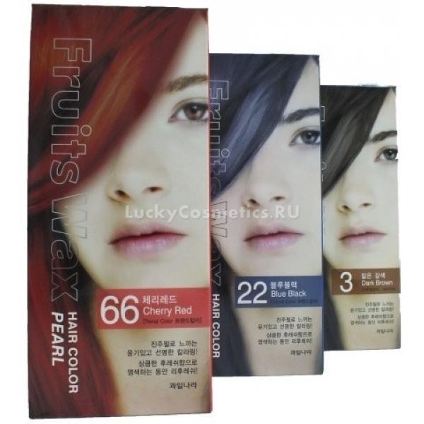 Welcos Fruits Wax Pearl Hair ColorЛюбите экспериментировать с цветом волос, но не желаете им вредить? Уникальная краска для волос создана на основе экстрактов натуральных растительных компонентов, которые создают ровный оттенок и не повреждают структуру волоса. Красящие пигменты эффектно переливаются в солнечном свете и делают поверхность волос гладкой и послушной. Активные компоненты краски легко наносятся и не теряют цвет до 8 недель. Специальная запатентованная формула средства глубоко проникает в фолликулы волос и надежно прокрашивает буквально каждый миллиметр. Кроме того, средство поможет надежно окрасить седину и не вызывает раздражения кожи головы. А приятный аромат трав поможет насладиться процедурой окрашивания.<br><br>Масло виноградных косточек в составе краски укрепит слабые и тонкие пряди, предотвратит их расслоение и подарит волосам шелковистость.<br><br>Фруктовые кислоты помогут замедлить старение клеток, усилят рост волос и вернут им упругость.<br><br>Выберите свой идеальный оттенок и оставайтесь в центре внимания вместе с краской Welcos Fruits Wax Pearl Hair Color.<br><br>02 Black Brown &amp;ndash; черно &amp;ndash; коричневый оттенок выгодно подчеркнет смуглую кожу.<br><br>03 Dark Brown &amp;ndash; оттенок черного шоколада выгодно переливается в солнечном свете.<br><br>04 Brown &amp;ndash; оттенок коричневого цвета создает мягкие полутона и переливы.<br><br>05 Light Brown &amp;ndash; светло &amp;ndash; коричневый оттенок, напоминающий молочный шоколад, прекрасно сочетается с летним загаром.<br><br>06 Light Blonde &amp;ndash; светлый блонд создает мягкий оттенок, подходящий под натуральный цвет волос.<br><br>09 Gold Blonde &amp;ndash; золотистый блондин &amp;ndash; погружает в воспоминания о золотом песочном пляже.<br><br>22 Blue Black синевато &amp;ndash; черный &amp;ndash; выгодно подчеркнет карие глаза и темную кожу.<br><br>66 Cherry Red - красная вишня &amp;ndash; создана для смелых и решительных.<br><br>55 Pure whine &amp;ndash; волосы, словно 