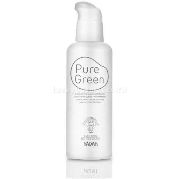 Yadah Pure Green EmulsionЛегкая эмульсия из питательной коллекции Pure Green от Yadah создана специально для проблемной и сухой кожи лица. Активные компоненты средства мгновенно проникают в дерму и активируют процессы обновления клеток. Не оставляет на коже следов липкости или жирности, помогает контролировать выработку кожного сала, блокирует размножение бактерий и прекрасно снимает воспаления. Кроме того, лечебно &amp;ndash; профилактические функции средства помогают устранить следы постакне, пигментации и шелушений. Создает на поверхности кожи воздухопроницаемую пленку, которая минимизирует негативное влияние ультрафиолета, жесткой воды и стрессов.<br><br>Экстракт маточного молочка обладает мощным регенерирующим эффектом, заполняет и разглаживает морщины, устраняет сухость и пигментацию. Поддерживает оптимальный уровень влажности и липидный баланс клеток.<br><br>Цветочный экстракт обладает мощным эффектом лифтинга, защищает кожу от образования свободных радикалов, успокаивает и снимает раздражение.<br><br>&amp;nbsp;<br><br>Объём: 120 мл.<br><br>&amp;nbsp;<br><br>Способ применения:<br><br>На предварительно очищенную и тонизированную кожу нанесите эмульсию и распределите легкими похлопывающими движениями.<br>