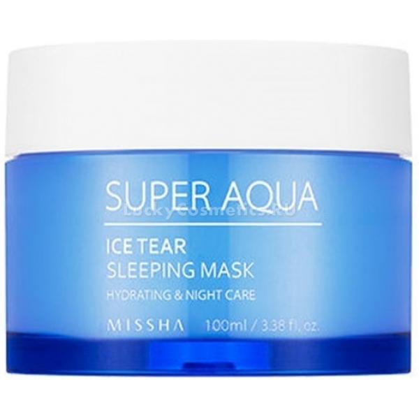 Missha Super Aqua Ice Tear Sleeping MaskДля большинства прекрасных дам нанесение ночного крема перед сном – дело привычное. А вот ночная маска - уже диковинка, уже интересно. Суперувлажняющий продукт Missha Sleeping Mask отлично подойдет для уставшей, обезвоженной кожи, лишенной энергии и здорового лоска.<br>Только представьте, пока вы видите сладкие сны, компоненты маски трудятся на благо вашей красоты, успокаивая покраснения, даря глубокое увлажнение и ускоряя выработку собственного коллагена.<br>Бодрящая мята, присутствующая в составе слегка холодит кожу, приводят ее в тонус, сужает поры. Экстракты розмарина и лаванды обеззараживают микроповреждения и способствуют их скорейшему заживлению.<br>Травяной комплекс, состоящий из ромашки и шалфея, улучшает клеточное дыхание и стимулирует процессы регенерации. Именно поэтому Super Aqua Ice Tear часто применяют после чисток, пилингов, скрабирования, чтобы успокоить и восстановить эпидермис.<br>Кстати, не следует думать, что ночная гелевая маска хороша только в уходе за сухой и возрастной кожей. Комплекс активных компонентов способен отрегулировать работу сальных желез, подарить глубокое увлажнение и сгладить шелушения, а также предотвратить процесс размножения бактерий.Объём: 100 мл.Способ применения:Тщательно очистите кожу, используя свой привычный уход. На завершающем этапе замените ночной крем на ночную маску. Нанесите е тонким слоем, избегая области вокруг глаз и губ, утром смойте теплой водой без использования пенки.<br>