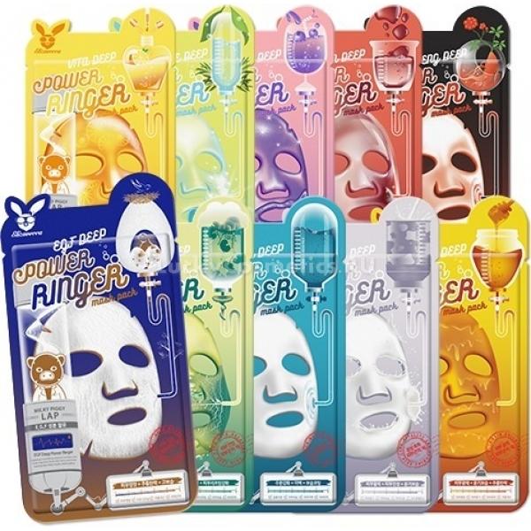 Elizavecca Deep Power Ringer MaskМаски для лица Deep Power Ringer Mask от корейского бренда Elizavecca &amp;ndash; эффективное и удобное экспресс-решение любой проблемы.<br><br>Elizavecca Aqua Deep Power Ringer Mask &amp;ndash; увлажняющая и отбеливающая маска, компоненты которой проникают в глубокие слои эпидермиса.<br><br>Elizavecca Centella Asiatica Deep Power Ringer Mask с экстрактом центеллы азиатской стимулирует синтез собственного коллагена кожи, заживляет её, успокаивает и снимает воспаления.<br><br>Elizavecca Collagen Deep Power Ringer Mask с антивозрастным эффектом содержит коллеген, который увлажняет кожу и разглаживает морщинки.<br><br>Elizavecca EGF Deep Power Ringer Mask обладает антивозрастным действием. Она содержит эпителиальный фактор роста (EGF) &amp;ndash; полипептид, который помогает коже вырабатывать собственный коллаген, а также стимулирует рост и развитие клеток.<br><br>Elizavecca Fruits Deep Power Ringer Mask с экстрактами фруктов увлажняет кожу и улучшает цвет лица.<br><br>Elizavecca Honey Deep Power Ringer Mask с мёдом увлажняет, смягчает и подтягивает кожу, разглаживает мимические морщинки.<br><br>Elizavecca Milk Deep Power Ringer Mask с молоком увлажняет кожу и делает её упругой. В составе есть гиалуроновая кислота, которая притягивает к себе молекулы воды, насыщая ими клетки эпидермиса.<br><br>Elizavecca Red Ginseng Deep Power Ringer Mask с экстрактом женьшеня глубоко увлажняет и отбеливает кожу, придаёт ей сияние и здоровый вид, разглаживает морщинки.<br><br>Elizavecca Tea Tree Deep Power Ringer Mask с экстрактом чайного дерева очищает и успокаивает проблемную кожу.<br><br>Elizavecca Vita Deep Power Ringer Mask с обогащенной витаминами водой делает кожу чистой, свежей и сияющей.<br><br>&amp;nbsp;<br><br>Объём: 23 мл.<br><br>&amp;nbsp;<br><br>Способ применения:<br><br>Вытащите маску из упаковки, наложите на чистое увлажнённое лицо и расправьте. Через 20-30 минут снимите средство, вбейте остатки эмульсии в кожу лёгкими похлопывающими дви