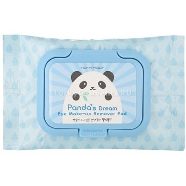 Tony Moly Pandas Dream Eye make up Remover PadМягкие салфетки для снятия макияжа из очаровательной серии Pandas Dream, созданы для бережного очищения кожи от косметики и пыли. Салфетки упакованы в удобную упаковку с изображением милой панды, непременным атрибутом этой серии. Сами салфетки выполнены из мягкой хлопковой ткани, которая обильно пропитана специальным очищающим лосьоном, который не содержит спирта и подходит как для лица, так и для глаз. Салфетки имеют рифленую поверхность, благодаря чему эффективно очищают лицо от остатков косметических средств.<br>Салфетки Pandas Dream Eye make up Remover Pad пропитаны уникальным составом, который по большей части состоит из природных компонентов, благодаря этому они эффективно снимают макияж и помогают избавиться от кругов под глазами. Они увлажняют нежную кожу лица и век, снимают напряжение и усталость, повышают ее упругость.<br>Салфетки пропитаны средством с такими полезными компонентами, как:<br>витамин Е – тонизирует кожу, препятствует ее увяданию, повышает защитные функции клеток кожи.<br>витамин В3 (ниацинамид) – оздоравливает кожу, возвращает ей эластичность и гладкость.<br>экстракт бамбука и актинидии – возвращает коже молодость и силу, осветляет круги под глазами.<br>аденозин – разглаживает кожу и морщинки, предотвращает ранее старение кожиОбъём: 40 штукСпособ применения:Извлеките салфетку из упаковки и протрите ей кожу лица и веки.<br>