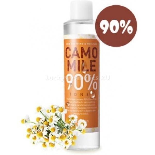 Mizon Camomile  TonerРомашковый тонер Herb Soothing Camomile 90 % Toner от Mizon является сильнодействующим средством для ухода за чувствительной кожей. Ромашковая вода обладает ароматическим, антисептическим, успокаивающим и регенерационным свойствами, и состоит, в основном, из эфирного масла ромашки. Вспомогательными веществами являются растительные экстракты (арника, портулак, полынь, горечавка, тысячелистник), трегалоза, пантенол, аллантоин и бета-глюкан.<br><br>Эфирное масло из цветов ромашки &amp;ndash; известное с древности лечебное средство от многих болезней. В нём присутствуют два особенно полезных вещества: бисаболол и азулен. Они являются универсальными лечебными средствами с противовоспалительными, восстанавливающими, увлажняющими, успокаивающими и противоаллергическими свойствами. Именно благодаря этим ингредиентам ромашковая вода быстро снимает разнообразные раздражения, покраснения, шелушения, воспаления и зуд.<br><br>Используя ромашковый тонер, вы даже не заметите, как кожа приобретёт ровный тон, станет чистой и гладкой, сияющей здоровьем и силой.<br><br>&amp;nbsp;<br><br>Объём: 210 мл<br><br>&amp;nbsp;<br><br>Способ применения:<br><br>На предварительно очищенную кожу ватным диском с несколькими каплями средства наносите тонер аккуратными движениями. Особое внимание обращайте на сухие и повреждённые места. Тонер высыхает и впитывается в кожу за несколько секунд, поэтому не нужно смывать его водой. При необходимости нанесите несколько слоёв средства.<br>
