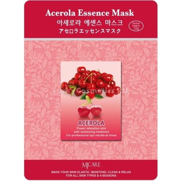 Mijin Cosmetics Acerola Essence MaskЭкстракт барбадосской вишни или ацеролы очень богат витаминами, необходимыми для здоровья кожи. Содержание витамина C в этих ягодах в десятки раз выше, чем в цитрусовых, а это &amp;ndash; главный антиоксидант, который защищает кожу от повреждающего воздействия свободных радикалов. Также витамин C играет важную роль в синтезе коллагена, при его недостатке кожа становится дряблой и морщинистой. Витамины группы B в ацероле &amp;ndash; пиридоксин, рибофлавин и никотиновая кислота необходимы для построения липидного барьера кожи, энергетики ее клеток.<br><br>Маска с ацеролой отлично подойдет для ухода за тусклой и безжизненной кожей в период дефицита витаминов &amp;ndash; зимой и ранней весной. Оказывает лифтинг-эффект, способствует разглаживанию мелких морщин, дарит коже тонус и упругость.<br><br>&amp;nbsp;<br><br>Объём: 23 г<br><br>&amp;nbsp;<br><br>Способ применения:<br><br>1. Размять упаковку с тканевой маской, пока эссенция не распределится равномерно, пропитав всю основу.<br><br>2. Подогрейте маску в теплой воде для расслабляющего эффекта или подержите ее в холодильнике полчаса, чтобы маска тонизировала и освежала кожу.<br><br>3. Раскройте упаковку и расправьте маску.<br><br>4. Приложите тканевую основу к чистой коже лица: для рта и глаз в ней есть специальные прорези, а на месте носа есть вырезка для воздействия маски на крылья носа.<br><br>5. Время воздействия &amp;ndash; 15-20 минут.<br><br>6. Тканевая основа снимается спустя положенный отрезок времени, а эссенция, которой она пропитана, остается на коже до полного впитывания. Для усиления воздействия полезных компонентов маски можно вмассировать ее остатки в кожу.<br>