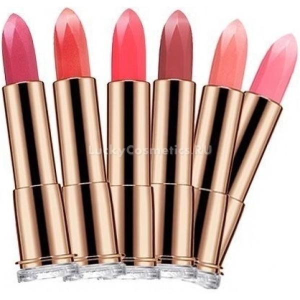 Missha Luminous Color Lip RougeКремовая губная помада от Missha с бесшиммерным глянцем обладает отличной кроющей способностью. Это идеальный выбор для ежедневного использования. Мягкая, нежная, но плотная текстура косметического средства гарантирует легкое нанесение на губы. Прекрасно скрывает трещинки и шелушения.<br><br>Косметическое средство изготовлено на основе интенсивно увлажняющей формулы. Активные липиды помады глубоко проникают в клетки кожи и предотвращают ее обезвоживание. Питание губам продукт обеспечивает за счет наличия  в составе натуральных, органических масел, в том числе масла гранатовых косточек, манго и шиповника. Уникальный пептидный комплекс, которым производитель обогатил средство, дарит коже надежную защиту от преждевременного старения и избавление от небольших морщинок, бережный уход.<br><br>Помада обладает солнцезащитным фактором SPF 11, нейтрализующим отрицательное влияние на кожу ультрафиолетовых лучей. При нанесении косметическое средство не оставляет на губах ощущения липкости и тяжести. Помада ложится легко, окутывая уста цветочным, приятным ароматом. Она помещена в красивый блестящий футляр золотого цвета, который закрывается удобной резной крышечкой.<br><br>Подобрать необходимый тон стойкой помады не составит труда, благодаря предложенному производителем изобилию. Помада представлена в следующих элегантных оттенках, которые подарят вашим губам непревзойденный чувственный вид: BE204(N), BR603, CR305, CR309, CR310(N), CR311, OR401(N), PK107, PK108, PK110(N), PK111(N), PK112(N), PK113(N), PK114(N), RD702, RD705(N).Объём: 3,5 гСпособ применения:Наносится помада на сухую, чистую кожу губ.<br>