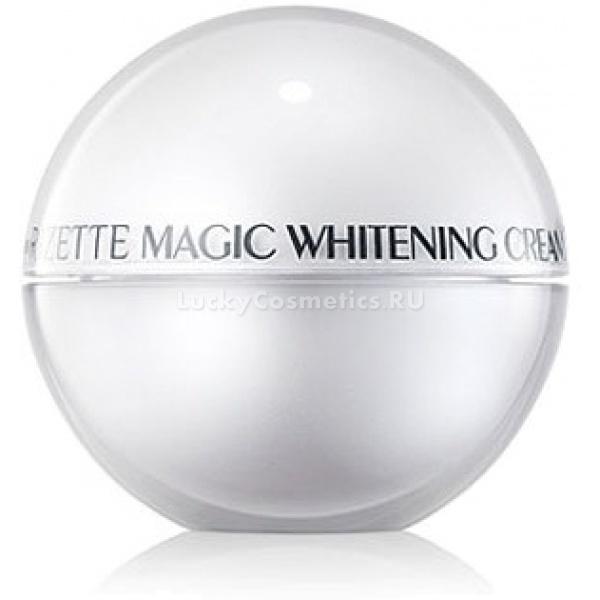 Отбеливающий антивозрастной крем Lioele Rizette Magic Whitening Cream PlusНовая, улучшенная формула крема Rizette Magic Whitening Cream Plus дает возможность быстро вернуть коже ее природный оттенок и избавиться от некрасивых пигментных пятен. Специальная формула определяет пигментированные участки кожи и интенсивно воздействует на них. Активные вещества, входящие в состав средства интенсивно воздействуют на кожу и замедляют процесс синтеза меланина. Благодаря этому не только уменьшается проявление пигментации, но и выстраивается надежный барьер, препятствующий возникновению новых пигментных пятен.<br><br>Крем могут использовать люди с любым типом кожи, в том числе с чувствительной, подверженной различным аллергическим реакциям. Формула крема на 85% состоит из натуральных компонентов и производится без использования искусственных консервантов, отдушек и красителей. Клинические испытания подтверждают результативность крема уже через 2 недели применения. Размеры и интенсивность окраски пигментных пятен и веснушек значительно уменьшается, синие круги под глазами делаются менее заметными.<br><br>Уникальный состав, включающий в себя насыщенный комплекс эфирных масел, вытяжек из целебных трав и минеральных веществ, эффективно увлажняет и смягчает усталую кожу, заполняет неглубокие морщины и разглаживает их. Большое содержание витамина С повышает общий тонус кожного покрова, устраняет нездоровую желтизну и делает поверхность эластичной и гладкой. Эффект от применения крема сохраняется до 48 часов.<br><br>Регулярное применение крема способствует быстрому отбеливанию кожи, устранению возрастных пигментных пятен и веснушек, возникших как результат перенесенных кожных заболеваний, а также глубокого пилинга, шлифовок и постакне.<br><br>&amp;nbsp;<br><br>Объём: 50 мл<br><br>&amp;nbsp;<br><br>Способ применения:<br><br>Крем рекомендован для регулярного ежедневного применения. Его следует наносить на предварительно очищенную кожу лица, распределяя по всей поверхности легкими, масса