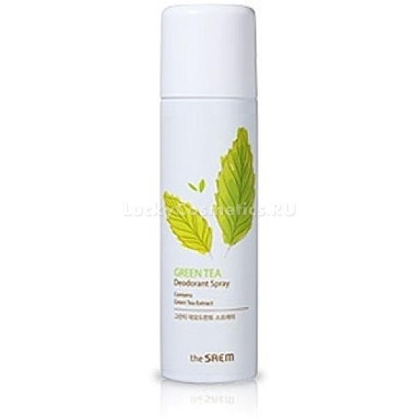 The Saem Green Tea Deodorant SprayДезодорирующий спрей для тела с натуральными растительными экстрактами не просто убирает неприятный запах, но и устраняет его причину благодаря своим антисептическим свойствам.<br><br>Экстракт зеленого чая стимулирует микроциркуляцию, усиливает питание тканей кожи и выведение токсинов в подкожной клетчатке. Это способствует нормализации деятельности сальных желез, поддерживает тургор и увлажненность кожи, препятствует шелушению и высыпаниям.<br><br>Экстракт алоэ в составе дезодорирующего спрея обеззараживает кожу, препятствует размножению бактерий и увлажняет эпидермис. Алоэ вера защищает нежную и чувствительную кожу от агрессивного воздействия солнечных лучей, предотвращает гиперпигментацию, заживляет микроповреждения после бритья.Объём: 100 млСпособ применения:На очищенную кожу после ее полного высыхания распылите немного спрея и подождите несколько секунд, пока он впитается.<br>