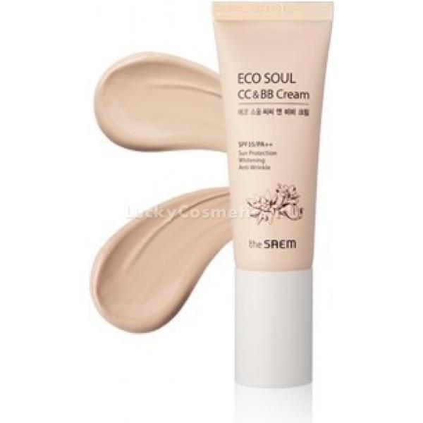 The Saem Eco Soul CCМы настолько привыкли к изобилию различных средств по уходу и макияжу в нашей косметичке, что нам трудно представить себе, что и тональный крем, и основной уход, и корректор, и солнцезащитное средство можно найти в одном флаконе. Тем не менее, это так!<br><br>Удивительный мультифункциональный крем ECO SOUL CC &amp;amp; BB Cream содержит все необходимое, чтобы ваша кожа чувствовала себя счастливой, сияла и привлекала своей свежестью и молодостью.<br><br>Лучшие свойства СС- и ББ-кремов в этом уникальном продукте позволяют восстановить дефицит влаги, сократить морщинки, укрепить и выровнять эпидермис, усилить микроциркуляцию и обменные процессы, а также минимизировать воздействие вредных факторов и УФ-излучения благодаря высокому солнцезащитному фактору SPF35 PA++.<br><br>Средство не забивает поры, а стягивает их, выравнивая поверхность кожи.<br><br>Ложится естественно, подстраивается под ваш оттенок кожи, не создает эффекта &amp;laquo;маски и пленки&amp;raquo;, уменьшает жирный блеск и устраняет воспаления и раздражение. Вы можете быть уверены, что ваш макияж надолго сохранит безупречный вид.<br><br>&amp;nbsp;<br><br>Объём: 45 мл<br><br>&amp;nbsp;<br><br>Способ применения:<br><br>Нанесите на очищенное лицо поверх основного крема-ухода и тщательно растушуйте.<br>