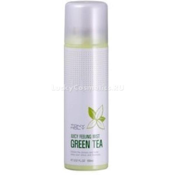 Tony Moly Juicy Feeling Mist Green TeaПодарите вашей коже моменты нежности с уникальным спреем для лица от компании Tony Moly. Ухаживающая формула спрея содержит полезный экстракт зеленого чая, который освежает и тонизирует лишенную влаги кожу, увлажняя ее. Так как кожа лица все время требует нужного увлажнения, при неблагоприятных условиях недостаток влаги ощущается еще более остро. Так, например, в летнюю жару, в помещениях с сухим воздухом, при выполнении спортивных упражнений, кожа расходует значительно больше влаги, чем обычно, поэтому ей требуется повышенное увлажнение. Все это обеспечивает спрей, с помощью которого кожа быстро становится свежей, вновь обретает тонус. Он восстанавливает необходимый уровень увлажненности и блокирует быстрое испарение влаги из тканей. Также спрей эффективно борется с очагами воспалений и раздражениями, делая кожу гладкой и красивой. Зеленый чай, являясь отличным антиоксидантом, помогает приостановить старение кожи, помогая ей оставаться как можно дольше молодой и упругой.Объём: 100 млСпособ применения:На расстоянии не менее 20 см распылить спрей на кожу лица и шеи при появлении ощущения сухости. Подходит для неоднократного использования в течение дня.<br>