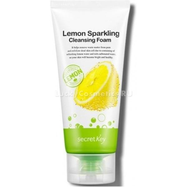 Secret Key Lemon Sparkling FoamПенка для умывания на основе экстракта лимона создана для деликатного очищения кожи лица. Она с легкостью устраняет остатки косметики и избыток кожного себума. Средство освобождает кожу от ороговевшего слоя клеток и сальных пробок и является основой полноценного ухода.<br><br>Косметический продукт для умывания содержит натуральные компоненты. Вода, насыщенная газом, в составе пенки насытит вашу кожу бесценными макро- и микроэлементами. Она нормализует обменные процессы, выведет шлаки и токсины, ускорит регенерацию клеток.<br><br>Экстракты лимона, плодов дынного дерева и зеленого чая обеспечивают антибактериальное и антисептическое действие. Эти компоненты позволяют сузить расширенные поры, ускорить процессы заживления небольших ранок и предотвратить образование новых воспалений. Экстракты несколько выбелят вашу кожу и сделают цвет лица более однородным.<br><br>Молоко ослицы и гиалуроновая кислота, содержащиеся в формуле продукта, вернут коже былую упругость и шелковистость. Молочные протеины и гиалуронат предотвратят ранее старение, обеспечат питание и защитят от потери влаги.<br><br>Пенка обладает нежным освежающим ароматом. При ежедневном умывании вы сможете оценить ее лифтинговое действие. Кожа станет свободной от несовершенств, приобретет здоровье и свежесть.Объём: 120 млСпособ применения:Выдавите средство в ладонь и массирующими движениями нанесите на влажную кожу лица, не затрагивая область глаз. Затем смойте остатки пенки прохладной водой.<br>
