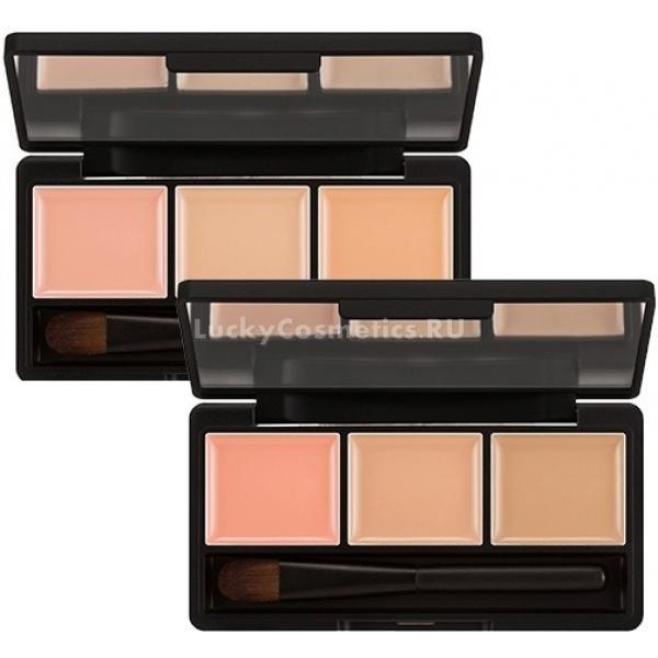 Missha Closing Cover Palette ConcealerКонсилеры для маскировки проблемных участков помогают добиться «фотошопного» эффекта в макияже, делают его тон идеально равномерным, убирая видимость веснушек, акне, куперозных звездочек, застойных пятен и других косметических несовершенств.<br>Палитра Cover Palette Concealer содержит три оттенка – нежно-розовый, нейтральный и темный беж. Розовый консилер используют для коррекции области под глазами – он прекрасно справляется с темными кругами и желтизной, которая может появиться в результате недосыпа.<br>Нейтральный бежевый – надежное средство в борьбе с высыпаниями, которое не только маскирует, но и слегка подсушивает их. Однако помните, что после снятия консилера средством для демакияжа, кожу рекомендуется дополнительно увлажнить. В противном случае вы рискуете получить шелушения и вялость кожи на месте, где она будет страдать от пересушивания.<br>Темный бежевый можно использовать для скульптурирования лица, затемняя область скул или щеки.Объём: 1,3 г *3Способ применения:Наносить на очищенную сухую кожу точечно, после чего растушевать пальцами или с помощью кисти. На участках со шрамами, рубцами или высыпаниями лучшего результата добиться можно если не растушевывать средство, а вбить его мягкими похлопываниями.<br>