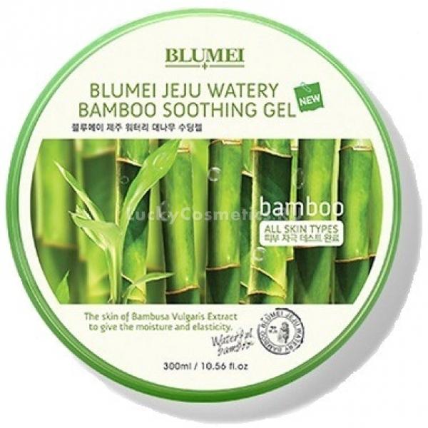 Blumei Jeju Watery Bamboo Soothing GelЛегкая текстура геля делает его идеальным средством по уходу за любой кожей. Он способен проникать глубоко, и надолго увлажнять даже самую сухую кожу, и поддерживать в ней необходимый баланс влаги. Гель от компании Blumei, который входит в линейку средств Jeju Watery, не только увлажняет кожу, но и ухаживает за ней.<br>В основе состава средства – экстракт бамбука. Бамбук применяется в косметологии и народной медицине стран Азии на протяжении многих веков. Он способен решить многие проблемы кожи и вылечить кожные заболевания. Благодаря экстракту бамбука гель Bamboo Soothing Gel способен принести такие изменения коже лица:<br>увлажнение;<br>выравнивание тона лица;<br>снятие раздражений и покраснений;<br>предупреждение воспалений;<br>активная регенерация клеток кожи;<br>уменьшение количества и выраженности морщин.<br>Гель подходит для жирной и комбинированной кожи.Объём: 300 мл.Способ применения:Гель нужно наносить на чистую и обработанную тонером кожу. Его можно использовать вместо повседневного крема. Благодаря легкой текстуре он быстро впитывается и не ощущается на коже.<br>Также гель можно использовать в качестве интенсивно увлажняющей маски. Для этого нанесите его толстым слоем на чистую кожу лица и оставьте на 20 минут. Затем остатки распределите ровным слоем по всей поверхности лица или промакните салфеткой.<br>